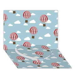 Hot Air Balloon Heart Bottom 3d Greeting Card (7x5)