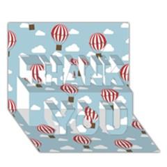 Hot Air Balloon THANK YOU 3D Greeting Card (7x5)