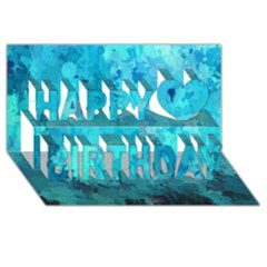 Splashes Of Color, Aqua Happy Birthday 3D Greeting Card (8x4)