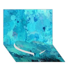 Splashes Of Color, Aqua Heart Bottom 3D Greeting Card (7x5)