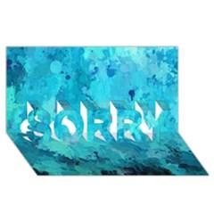 Splashes Of Color, Aqua Sorry 3d Greeting Card (8x4)
