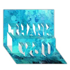 Splashes Of Color, Aqua THANK YOU 3D Greeting Card (7x5)