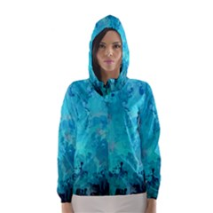 Splashes Of Color, Aqua Hooded Wind Breaker (Women)