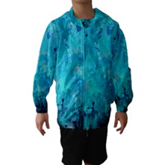 Splashes Of Color, Aqua Hooded Wind Breaker (kids)
