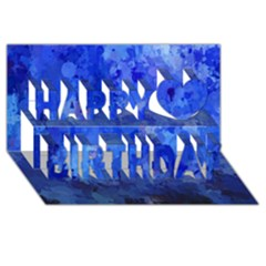 Splashes Of Color, Blue Happy Birthday 3D Greeting Card (8x4)