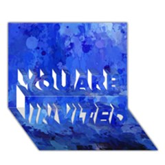 Splashes Of Color, Blue You Are Invited 3d Greeting Card (7x5)