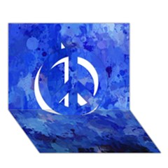 Splashes Of Color, Blue Peace Sign 3D Greeting Card (7x5)