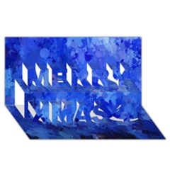 Splashes Of Color, Blue Merry Xmas 3D Greeting Card (8x4)