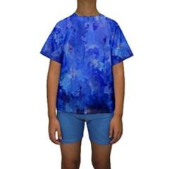 Splashes Of Color, Blue Kid s Short Sleeve Swimwear