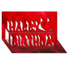 Splashes Of Color, Deep Red Happy Birthday 3D Greeting Card (8x4)