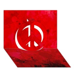Splashes Of Color, Deep Red Peace Sign 3D Greeting Card (7x5)
