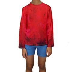 Splashes Of Color, Deep Red Kid s Long Sleeve Swimwear