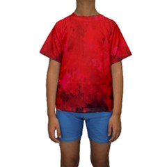 Splashes Of Color, Deep Red Kid s Short Sleeve Swimwear