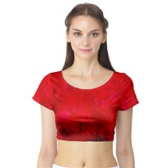Splashes Of Color, Deep Red Short Sleeve Crop Top