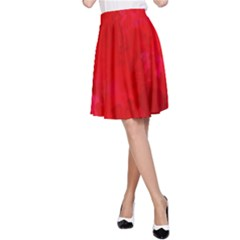 Splashes Of Color, Deep Red A Line Skirt