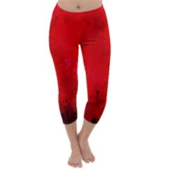 Splashes Of Color, Deep Red Capri Winter Leggings
