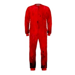 Splashes Of Color, Deep Red Onepiece Jumpsuit (kids)
