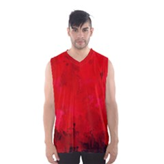 Splashes Of Color, Deep Red Men s Basketball Tank Top