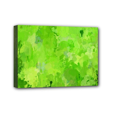Splashes Of Color, Green Mini Canvas 7  x 5