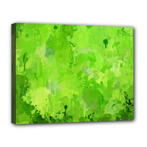 Splashes Of Color, Green Canvas 14  X 11