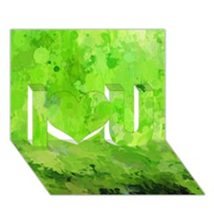 Splashes Of Color, Green I Love You 3D Greeting Card (7x5)