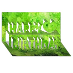 Splashes Of Color, Green Happy Birthday 3d Greeting Card (8x4)
