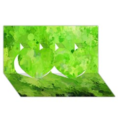 Splashes Of Color, Green Twin Hearts 3D Greeting Card (8x4)