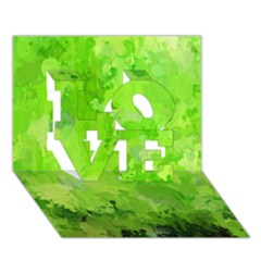 Splashes Of Color, Green LOVE 3D Greeting Card (7x5)