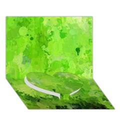 Splashes Of Color, Green Heart Bottom 3D Greeting Card (7x5)