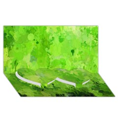 Splashes Of Color, Green Twin Heart Bottom 3d Greeting Card (8x4)