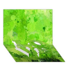 Splashes Of Color, Green Love Bottom 3d Greeting Card (7x5)