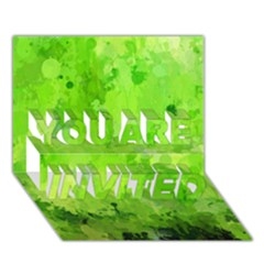 Splashes Of Color, Green You Are Invited 3d Greeting Card (7x5)
