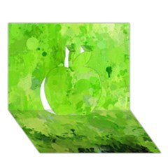 Splashes Of Color, Green Apple 3D Greeting Card (7x5)