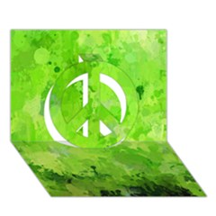Splashes Of Color, Green Peace Sign 3d Greeting Card (7x5)