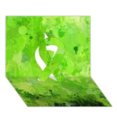 Splashes Of Color, Green Ribbon 3D Greeting Card (7x5)