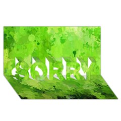 Splashes Of Color, Green SORRY 3D Greeting Card (8x4)