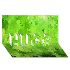 Splashes Of Color, Green HUGS 3D Greeting Card (8x4)