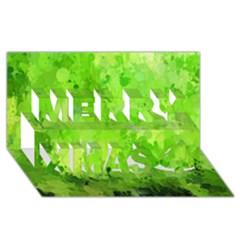 Splashes Of Color, Green Merry Xmas 3D Greeting Card (8x4)