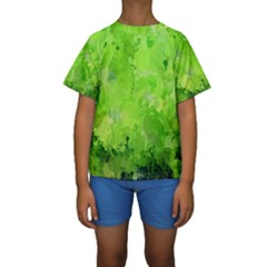 Splashes Of Color, Green Kid s Short Sleeve Swimwear