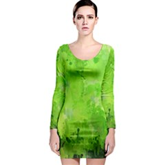 Splashes Of Color, Green Long Sleeve Bodycon Dresses