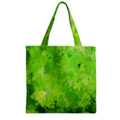 Splashes Of Color, Green Zipper Grocery Tote Bags