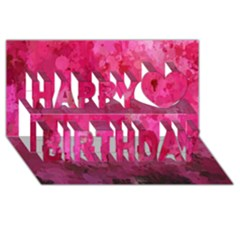 Splashes Of Color, Hot Pink Happy Birthday 3d Greeting Card (8x4)