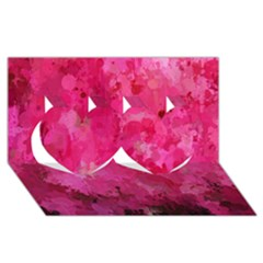 Splashes Of Color, Hot Pink Twin Hearts 3D Greeting Card (8x4)