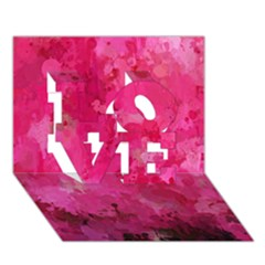 Splashes Of Color, Hot Pink Love 3d Greeting Card (7x5)