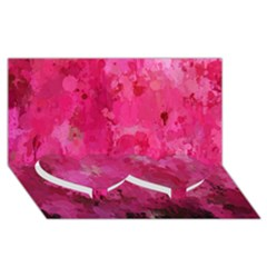 Splashes Of Color, Hot Pink Twin Heart Bottom 3d Greeting Card (8x4)