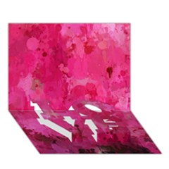Splashes Of Color, Hot Pink LOVE Bottom 3D Greeting Card (7x5)