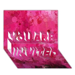 Splashes Of Color, Hot Pink YOU ARE INVITED 3D Greeting Card (7x5)