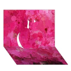 Splashes Of Color, Hot Pink Apple 3D Greeting Card (7x5)