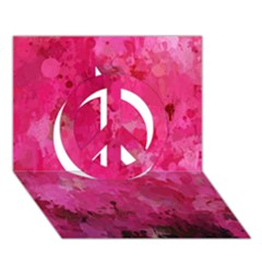 Splashes Of Color, Hot Pink Peace Sign 3D Greeting Card (7x5)