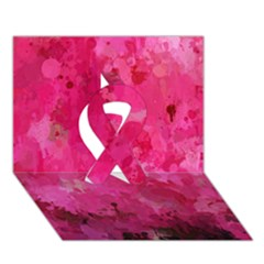 Splashes Of Color, Hot Pink Ribbon 3d Greeting Card (7x5)